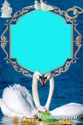Рамочка для фотошопа - Два белых лебедя.