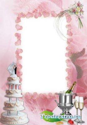 Розовая свадебная рамка для фотографий