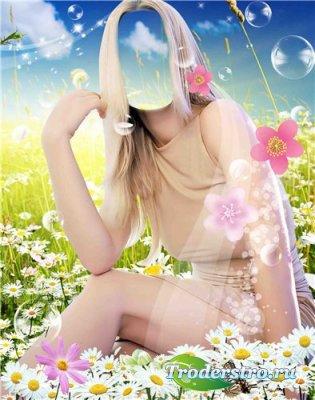 Шаблон для фотошоп – Девушка в ромашках