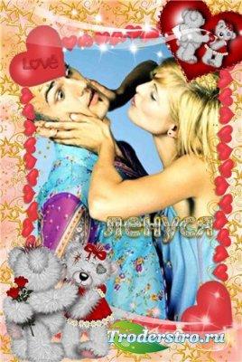 Рамка для фотошопа - Влюбленные мишки!