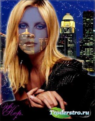 Женский шаблон для фотошопа - Ночной город