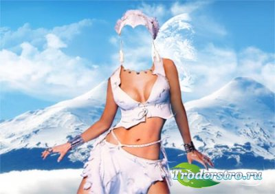 Шаблон для фотошопа - Девушка в горах