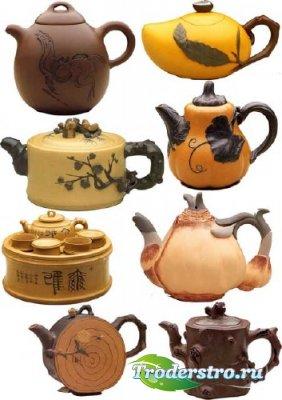 PSD клипарт - чайники в Восточном стиле