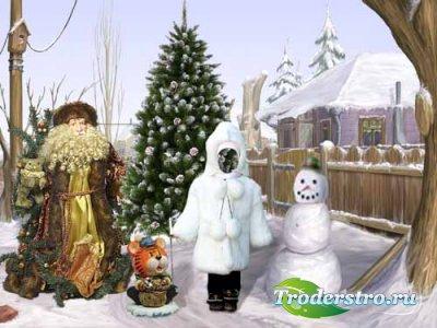 Детский шаблон для фотошопа - Зимняя прогулка