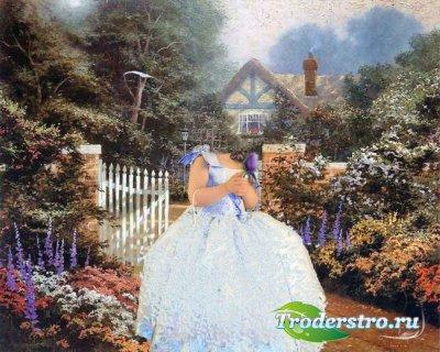 Шаблон для фотошопа - Девочка с розой