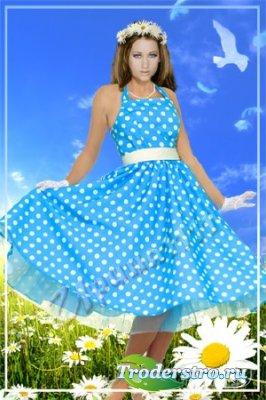 Женский шаблон для фотошопа - Девушка-весна