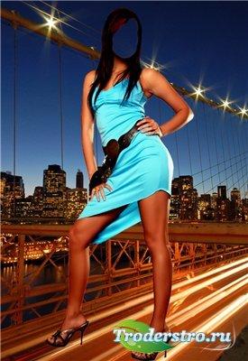 Женский шаблон для фотошопа - Ночной Нью-Йорк
