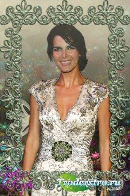 Женский шаблон для фотошопа - Зеленое платье