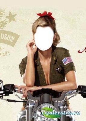 Шаблон для фотошопа – Девушка-сержант