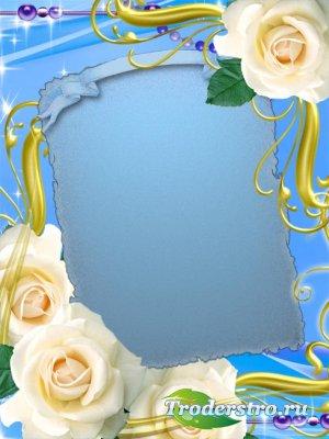 Рамочка для фотошопа – Белые розы