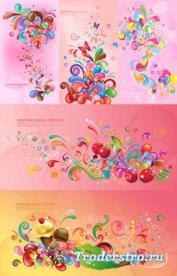 Pink backgrounds vector by Asadal - Векторный клипарт для фотошопа