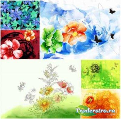 Клипарт - Рисованные цветы