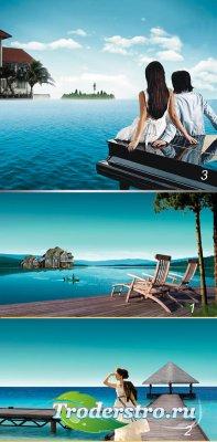 Синее море - PSD шаблон для фотошопа