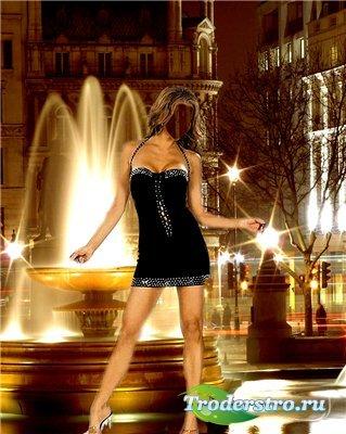 Женский костюм для фотошопа - У ночного фонтана
