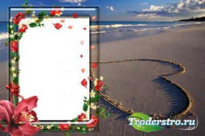 Рамка для фотошопа - Сердце на пляже