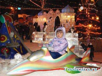 Детский шаблон для фотошопа - Зимние забавы