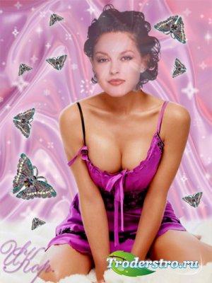 Женский шаблон для фотошопа - Розовое платье
