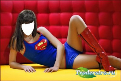 Шаблон для фотошопа – Девушка-супермен