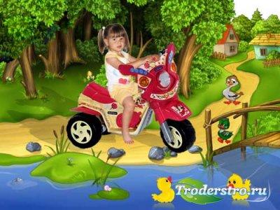 Детский шаблон для фотошопа - У пруда