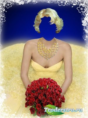 Шаблон для фотошоп – Девушка в жёлтом
