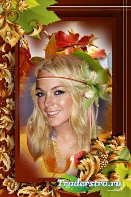 Рамка-шаблон для Фотошопа - Осенняя, Золотая.