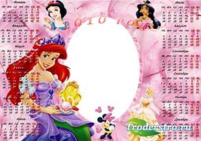 Рамка-календарь для фотошопа - С русалочкой