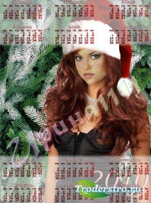 Шаблон-календарь для фотошопа - Ёлка