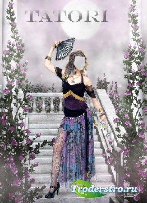 Шаблон для фотошопа - Танцовщица в саду