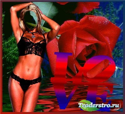 Женский шаблон для фотошопа - Валентинка с розой