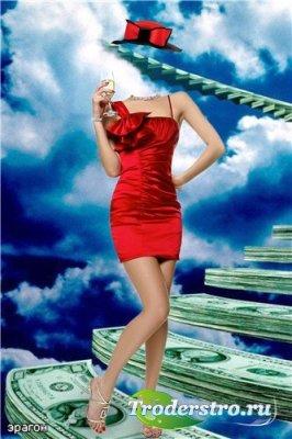 Женский шаблон для фотошоп – Девушка в красном
