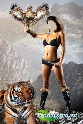 Шаблон для фотошоп - Амазонка и звери