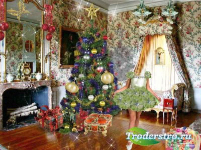 Шаблон для фотошопа - У новогодней ёлки