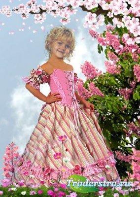 Детский шаблон для фотошопа девочка
