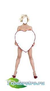 Шаблон для фотошопа - Моё сердце в PSD