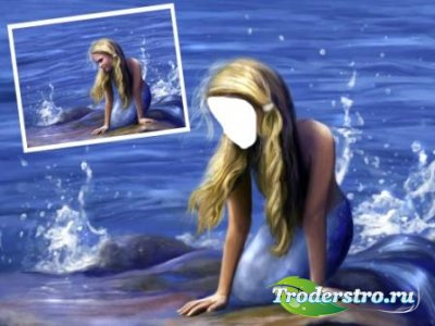 Шаблон для фотошопа – Русалка на берегу