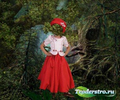 Шаблон для фотошопа – Красная шапочка в глухом лесу