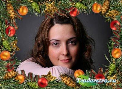 Рамка новогодняя для фотошопа из еловых веток