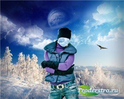 Шаблон для фотошопа - Зимний пейзаж