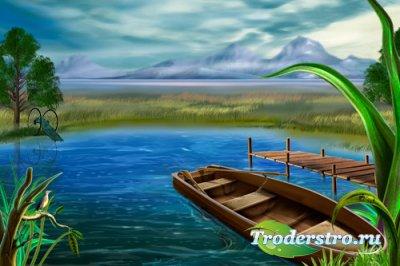 Painting river - PSD Исходник для фотошопа