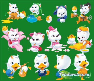 Детский клипарт - Котики, кошечки, утята