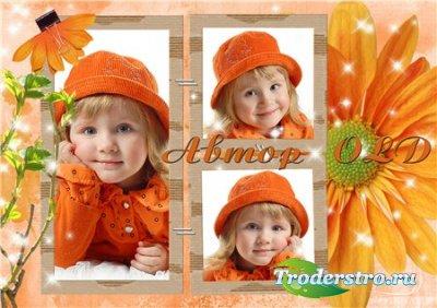 Рамка для Фотошопа –  Оранжевое лето