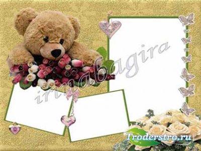 Рамочка - Мишка с розами