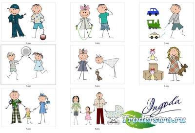 Нарисованные детки - Клипарт для фотошопа
