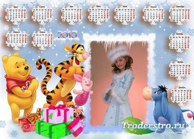 Зимняя сказка - Календарь рамка для фотошопа на 2010 год