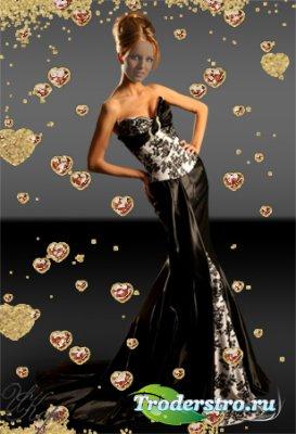 Женский шаблон для фотошопа - Вечернее черное платье