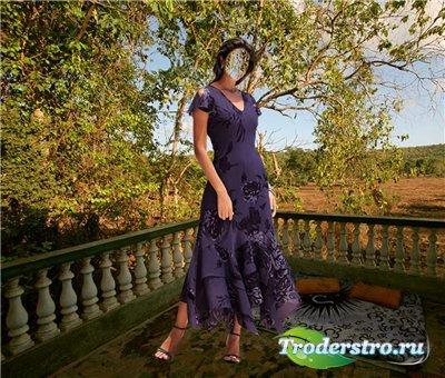 Женский шаблон для фотошопа - На балконе