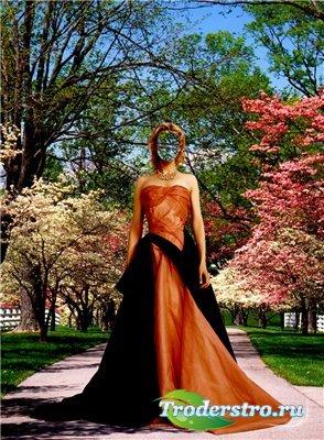 Женский шаблон для фотошопа - Весной в саду