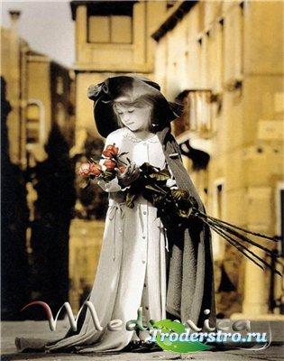 Шаблон для фотошопа - Первые цветы
