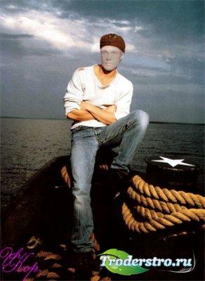 Мужской шаблон для фотошопа - У моря