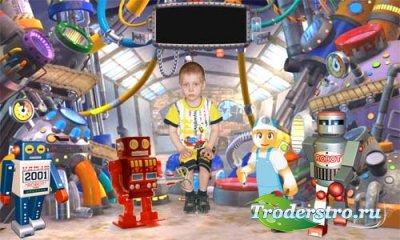 Детский шаблон для фотошопа - Робот